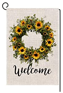 Welcome Sunflower Wreath Small Garden Flag Vertical Double Sided 12.5 x 18 Inch Summer Fall Farmhouse Burlap Yard Outdoor Decor