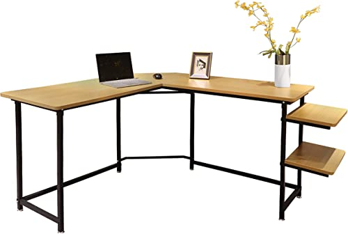 Sigetree Modern L-Shaped Desk Corner Computer Desk PC Laptop Table Wood Workstation Home Office Furniture,with Reversible and Adjustable Bookshelves CPU Stand Natural