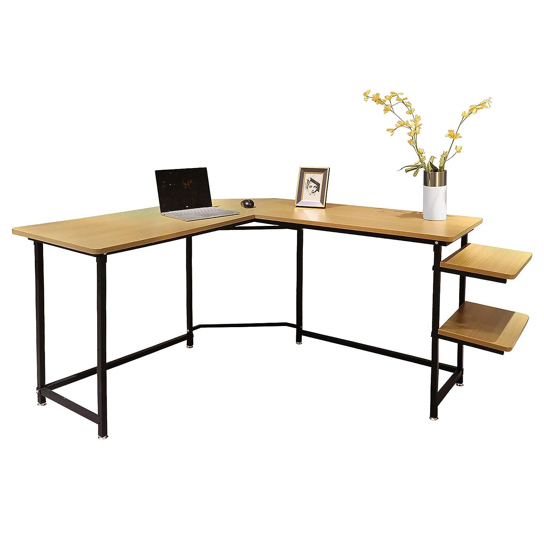 Sigetree Modern L-Shaped Desk Corner Computer Desk PC Laptop Table Wood Workstation Home Office Furniture,with Reversible and Adjustable Bookshelves CPU Stand Natural
