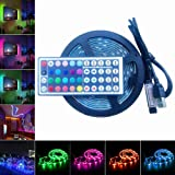 E-JIAEN RGB LED Light Strip USB Powered 5V SMD5050 Flexible Waterproof TV Back light with 44 Keys Remote Control for TV Background Lighting PC Notebook Home Decoration (1 meter)