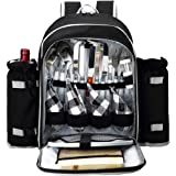 APOLLO WALKER Picnic Backpack for 4 with Cutlery Set for Picnic, Outdoor, Camping, BBQs, Cooler, Black