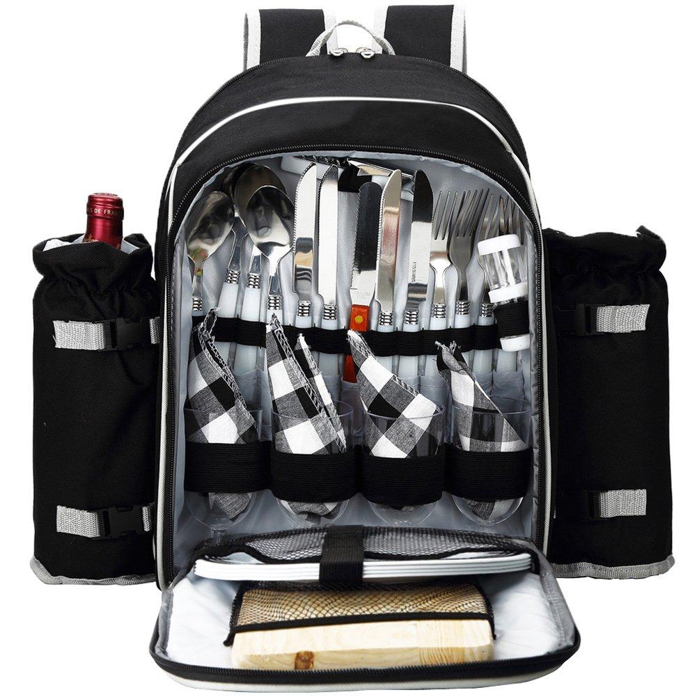Apollowalker Picknick-Rucksack für 4 Personen mit Besteck Set für Picknick, Outdoor, Sport, Wandern, Camping, BBQs und als Kühler