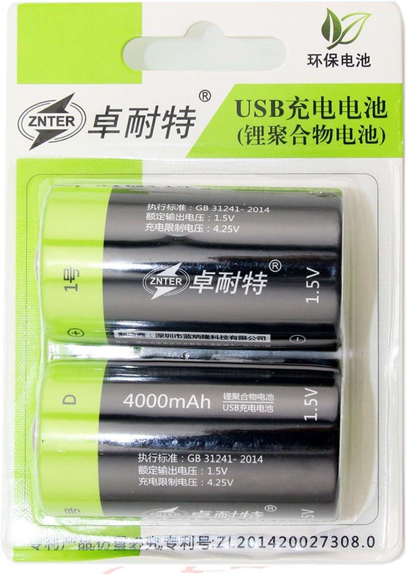 2pcsサイズ1.5 V 4000 mAh Li - Poバッテリー5 V USB充電as lr20 mn1300 US