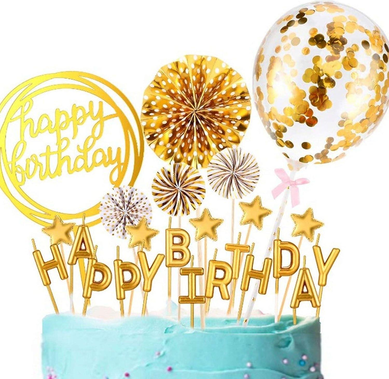 Boyigog Tortendeko Geburtstag Happy Birthday Topper Konfetti Luftballon Papierfächer Kuchendeko Geburtstagstorte Glitzer Cupcake Topper Für Geburtstagsfeier Dekoration Golden Spielzeug