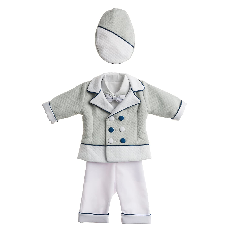 Taufanzug DAVID - grau-weiß mit ökologischem Leder - Handarbeit