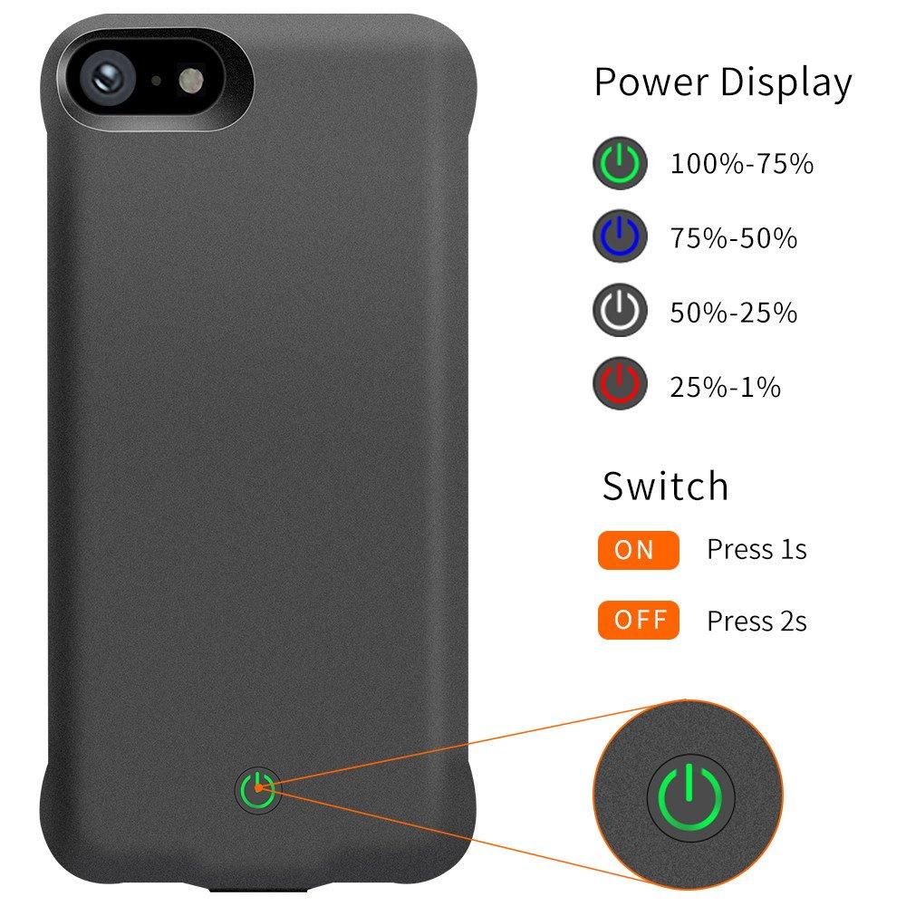 18041efa489 YICF iPhone 6 6s 7 8 Funda con Batería, 5000mAh Portátil Baterías Externas  Combinar de Protección Funda para Apple iPhone 6/6s/7/8, Cargador de  Carcasa, ...