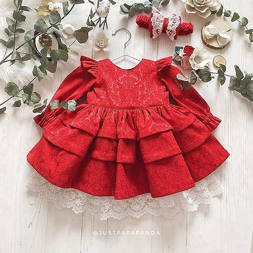 733e1abffc Amazon.com: Baby dress jacquard - Kids dress with lace - Long sleeve ...