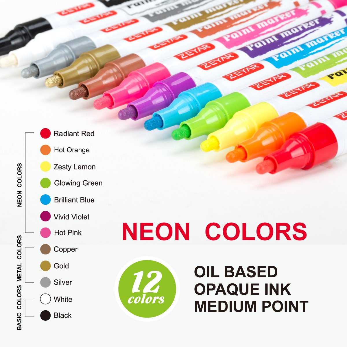 ZEYAR Paint Pens, Oil-Based, Medium Point,12 Metallic and Neon Colors, Odorless, Expert of Rock Painting, Xylene Free, Metal Penholder, Professional Paint Marker Manufacturer
