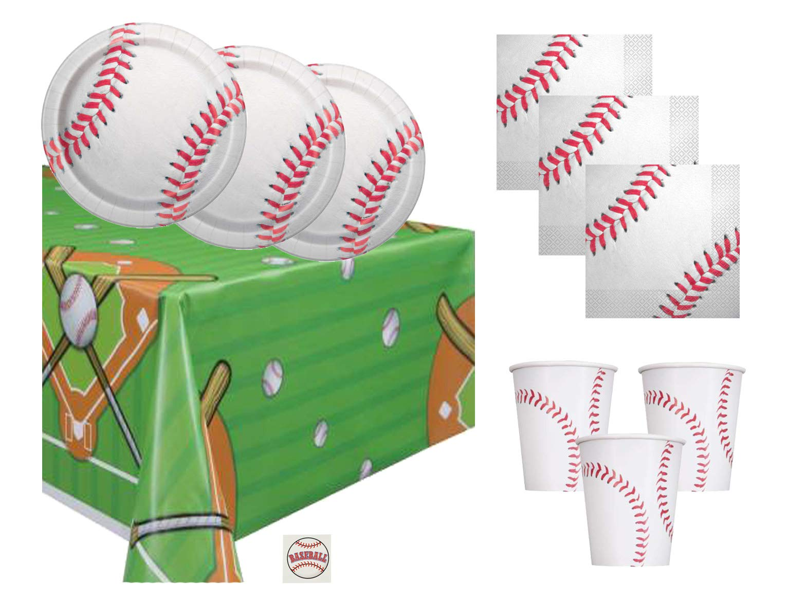 Baseball Theme Party Supplies Set - Plates, Cups, Napkins, Tablecloth Decoration (Serves 16) by Baseball (Image #1)