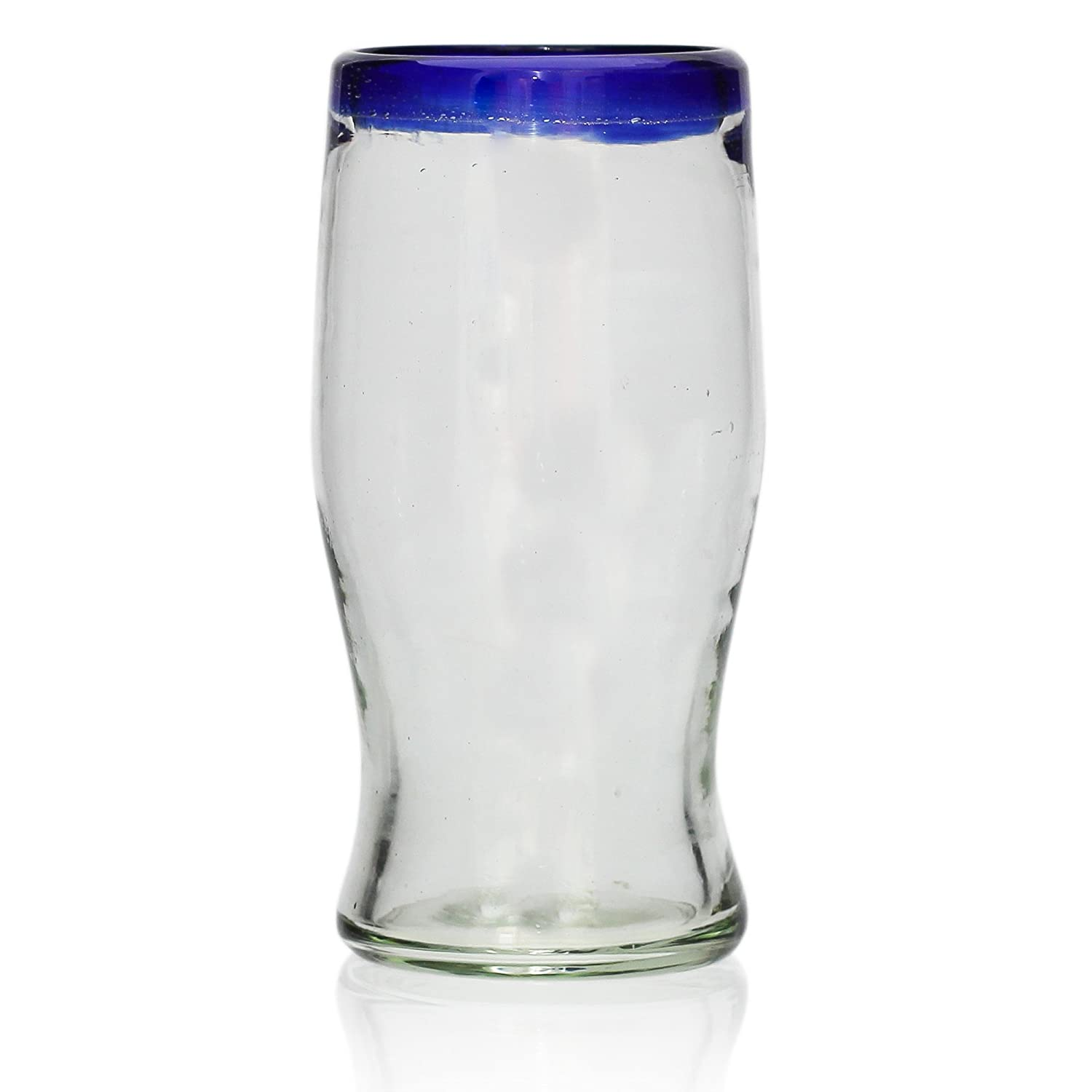 Handmade Pint Glass – Blue Rim - Single Glass Tumia LAC