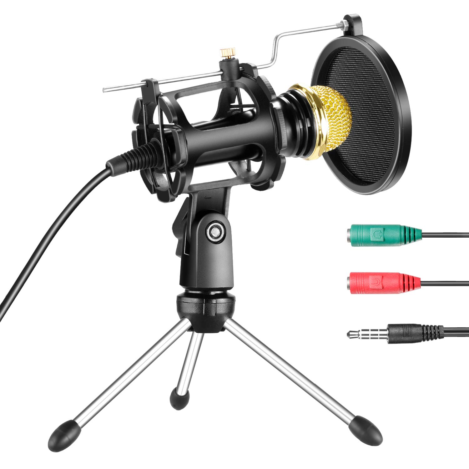 Neewer Professional Home Studio Condenser Microphone Plug and Play with Mini Desktop Mic Stand and Dual-layer Pop Filter for iPhone Android Smartphone PC Computer for Sound Recording Podcasting by Neewer