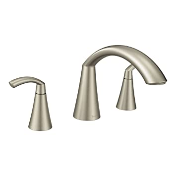 Moen T373bn Brushed Nickel Two Handle High Arc Roman Tub Faucet