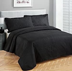Fancy Linen 3pc Coverlet Embossed King/California King Bed Cover, Black, 118 x 106-Inches