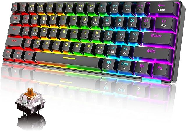 60% Teclado mecánico Cableado / inalámbrico Teclado Bluetooth 5.0 61 teclas RGB Rainbow LED retroiluminado USB tipo C Teclado para juegos a prueba de ...