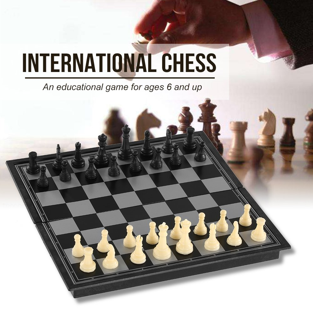 Alomejor International Chess Foldable Chess International Board Game Entertainment Complete Chess Set with Folding Board for Indoor Outdoor Entertainment