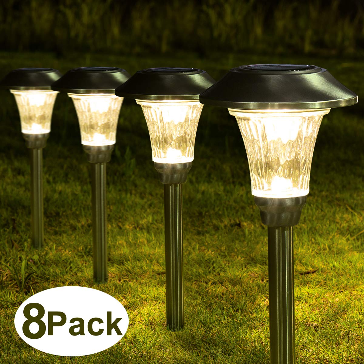 Solpex 8 Pack Solar Path Lights Outdoor, Waterproof Glass Stainless Steel High Lumen Automatic Solar Pathway Lights for Patio, Yard, Lawn, Garden and Landscape-Warm White(Silver Finish) by Solpex