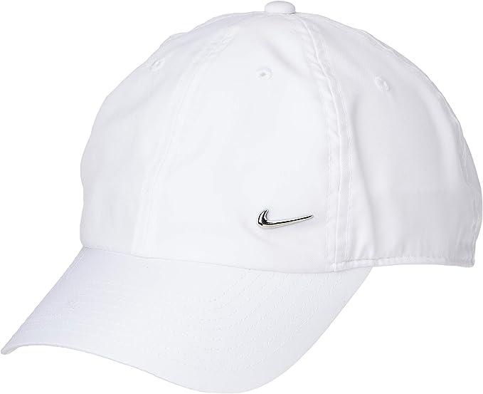 Nike U Nk H86 Cap Metal Swoosh Hat, Unisex Adulto, White/(Metallic ...