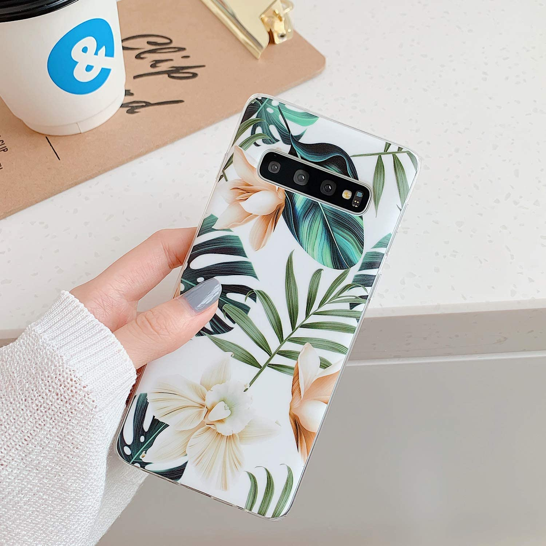 Coque Samsung Galaxy S10 Premium TPU Souple Silicone Motif floral de mode Coque Samsung Galaxy S10 pour Samsung Galaxy S10-6,1pouces Alihtte Coque Samsung Galaxy S10 Transparent Shock-Absorption