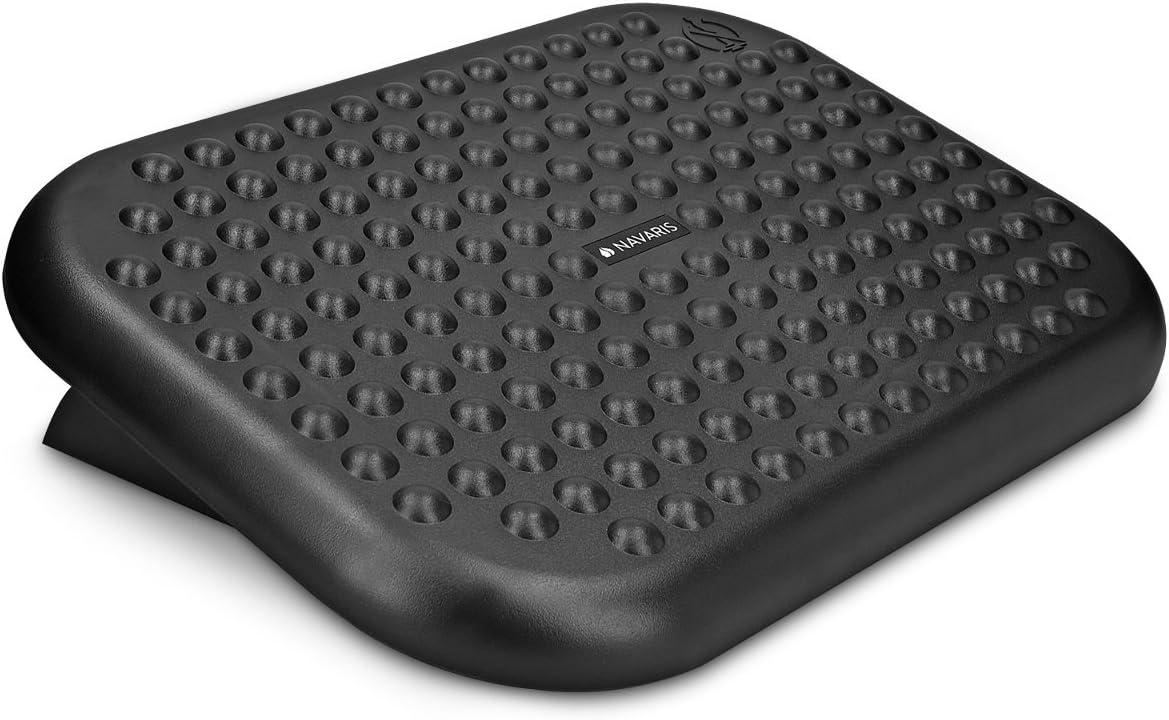 Navaris Reposapiés de Oficina - Soporte para pies con Altura Ajustable - Apoya pies ergonómico y Ajustable con Efecto Masaje - Base Regulable Negra