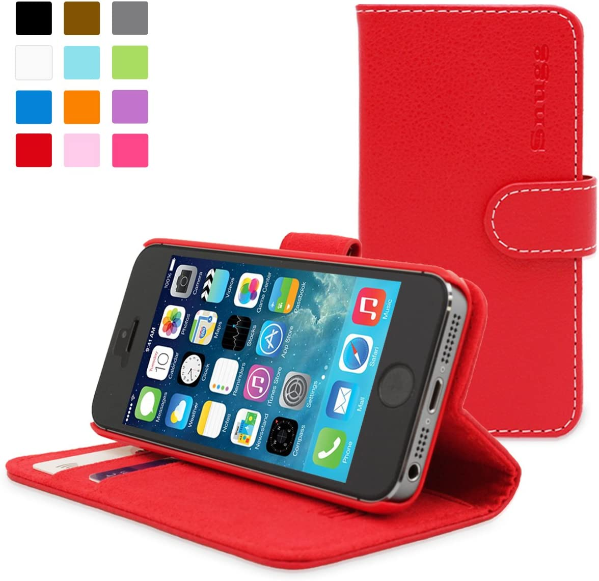 iPhone 5 / 5s Case, Snugg - Red Leather iPhone 5/5s Flip Case Premium Wallet Phone Cover with Card Slots for Apple iPhone 5 / 5s