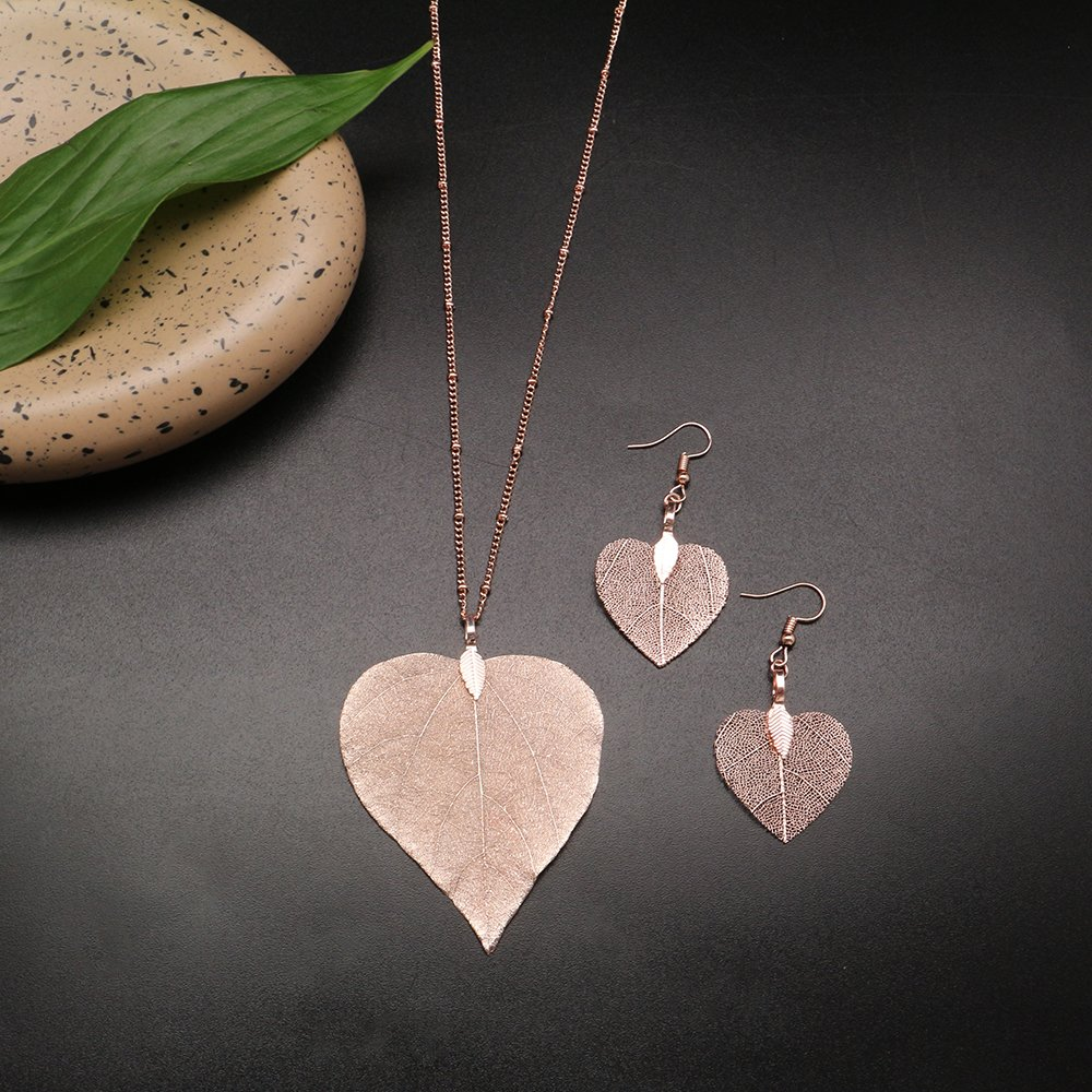 C&L Accessories C&L Real Natural Leaf Earring Necklace Set Heart Nacklace for Women Girls (Heart Rose Gold) by C&L Accessories (Image #2)
