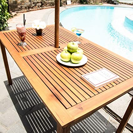 Outdoor Patio Rustic Rectangular Picnic Dining Table Acacia Wood Umbrella Hole Patio Backyard Pool Natural Finish