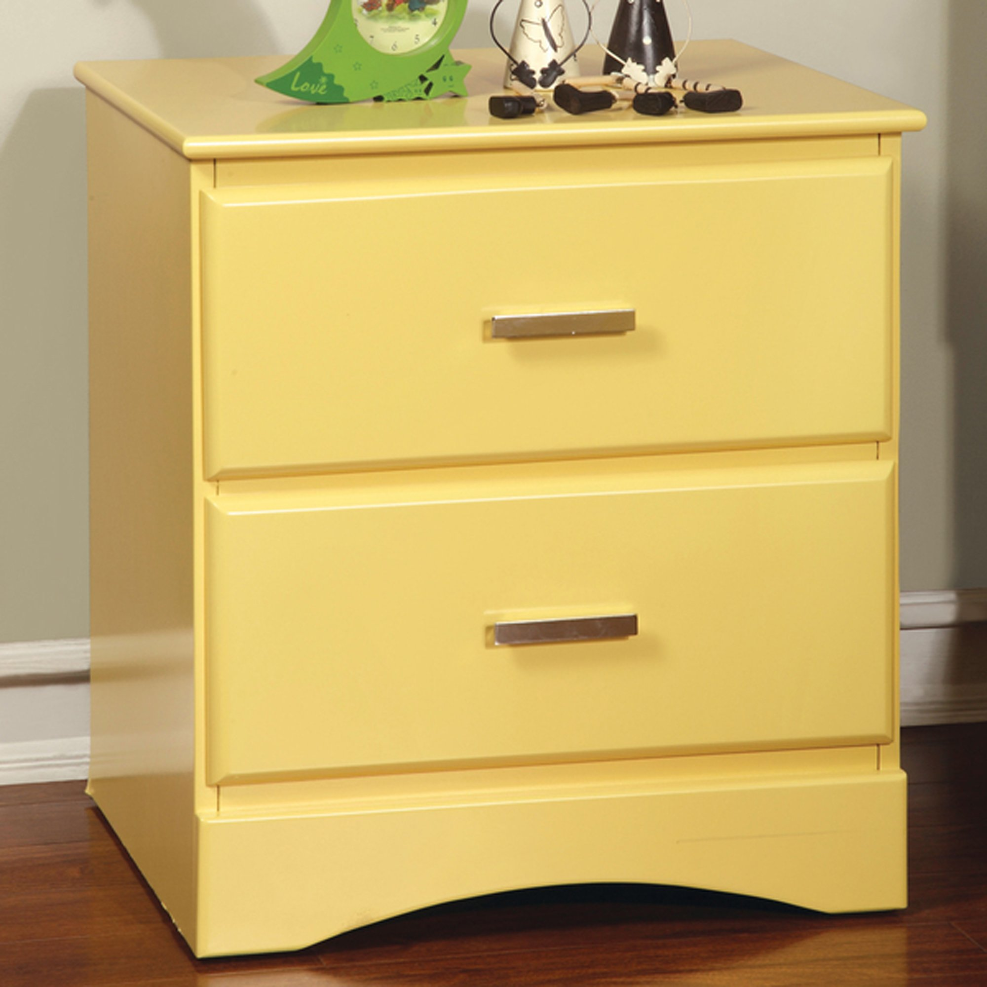 Kids Nightstand with 2 Drawers, Modern Toddler Room Side Table in Accent Color (Pineapple)