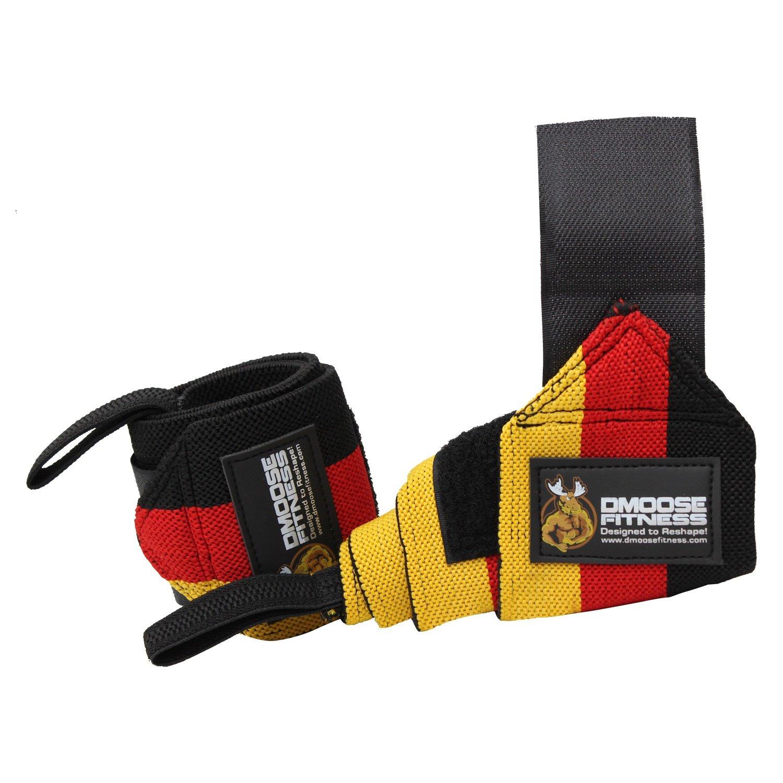 Culturismo y Crossfit Entrenamientos con envolturas duraderas DMoose Fitness Wrist Wraps Maximizar su Levantamiento de Pesas bucles de Pulgar Velcro Fuerte Levantamiento de Pesas Doble Costura