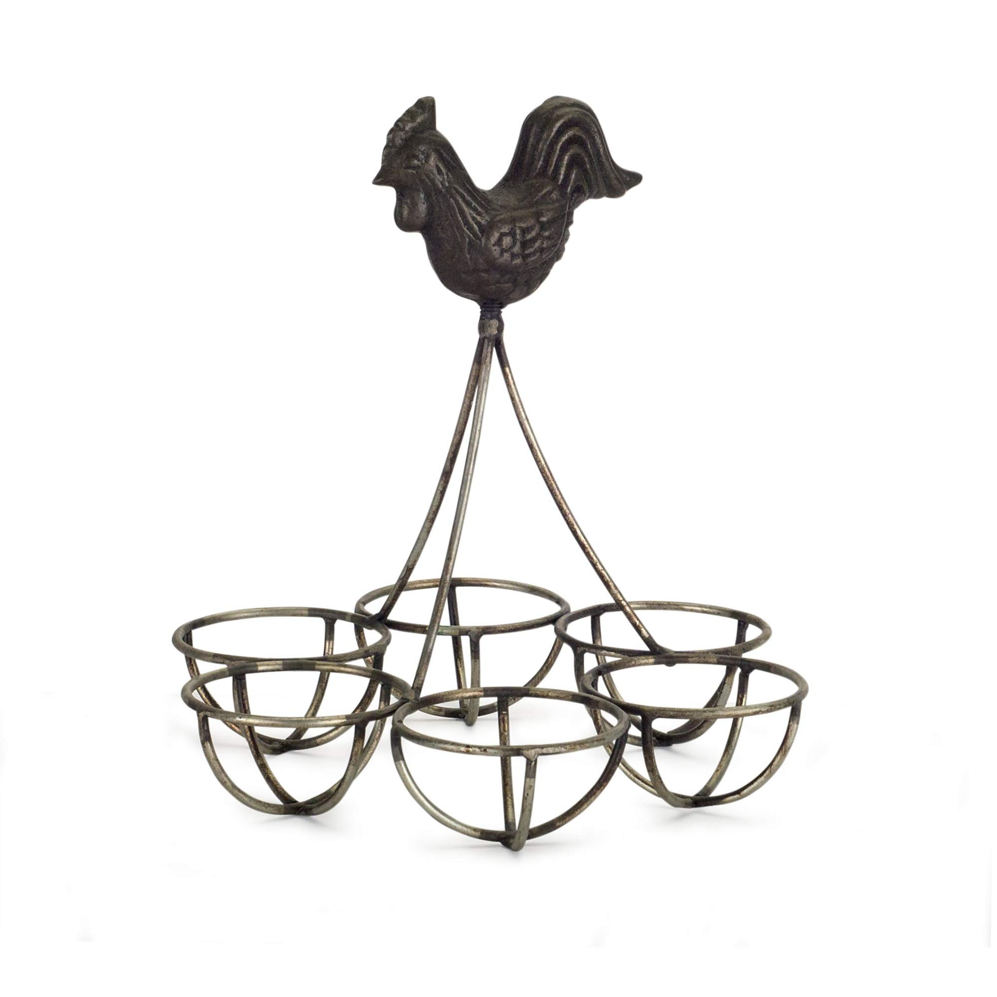 Diva At Home Set of 4 Rustic Iron Rooster with Egg Holder 6.25''