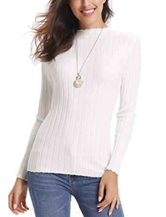Abollria Pull Femme Hiver Col Roulé à Manches Longues Chic Chaud sous-Pull  Tricot Hauts 37fc59bc6f0