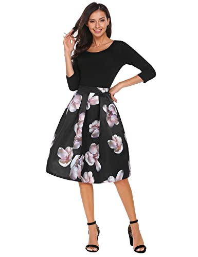 21f0d0bd6 Shine Women's Printed Peach Blossom A-line Prom Midi Pleated Skirt(Black,  XL) at Amazon Women's Clothing store: