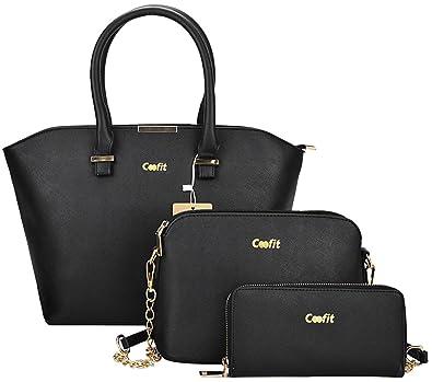 10f2c232b651 Amazon.com  Coofit 3 Pcs Handbag Satchel Purse Top-Handle Shoulder Bag for  Women (Black 3)  Shoes