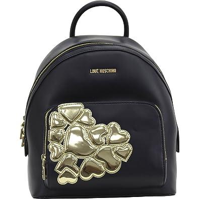 e812d78cc6d5f Amazon.com  Love Moschino Women s Applied Hearts Backpack Bag Black  Shoes