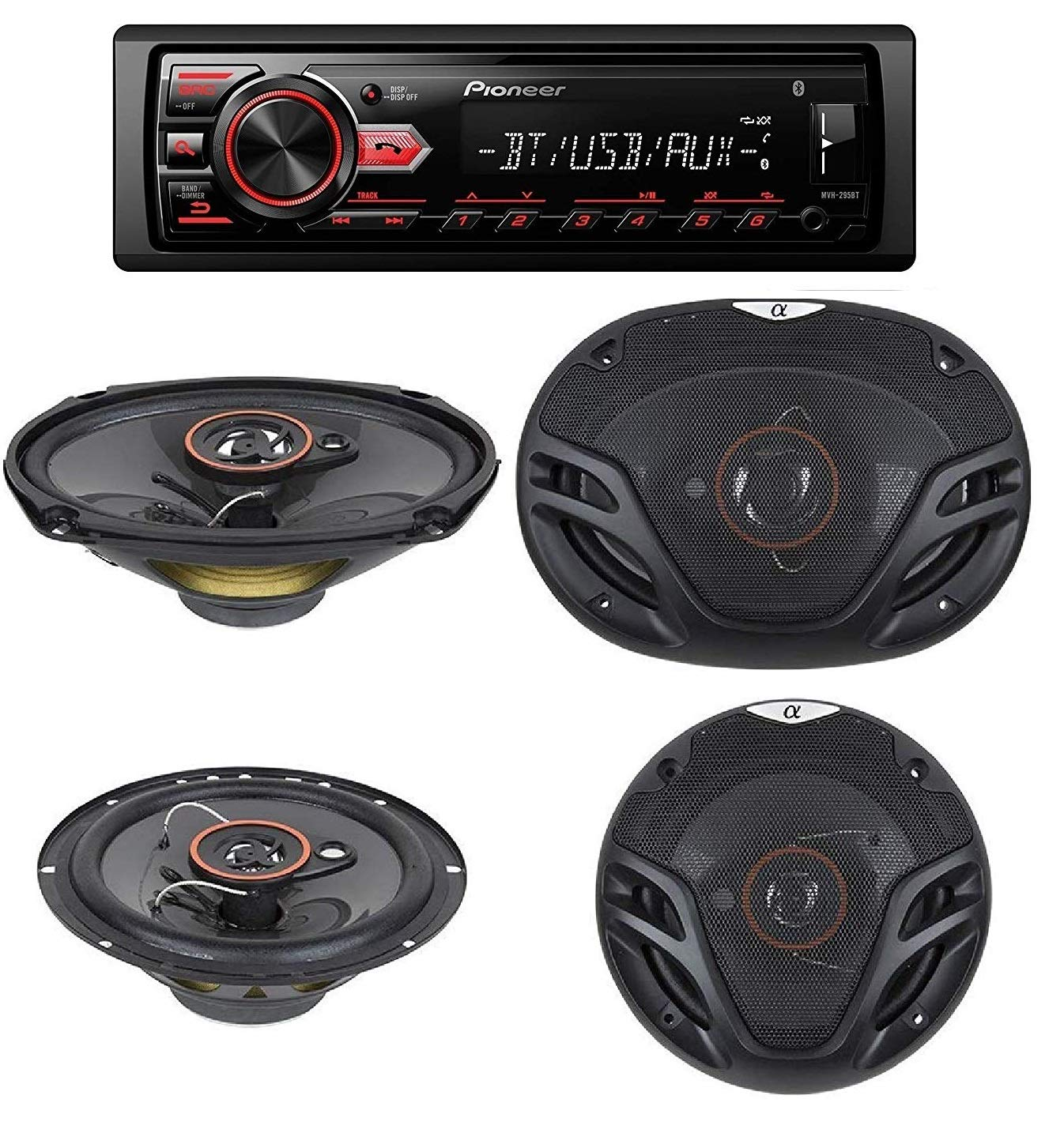 "Pioneer MVH-295BT Stereo Single DIN Bluetooth In-Dash USB MP3 Auxiliary AM/FM/Digital Media Pandora and Spotify Car Stereo Receiver With pair of 6.5"" and pair of 6x9"" Alphasonik Speakers"