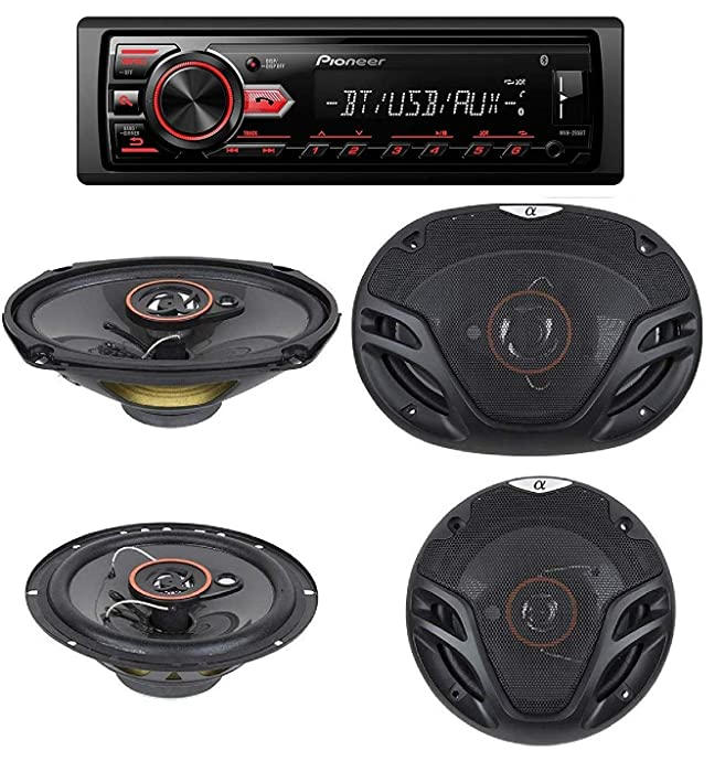 """Pioneer MVH-295BT Stereo Single DIN Bluetooth In-Dash USB MP3 Auxiliary AM/FM/Digital Media Pandora and Spotify Car Stereo Receiver With pair of 6.5"""" and pair of 6x9"""" Alphasonik Speakers"""