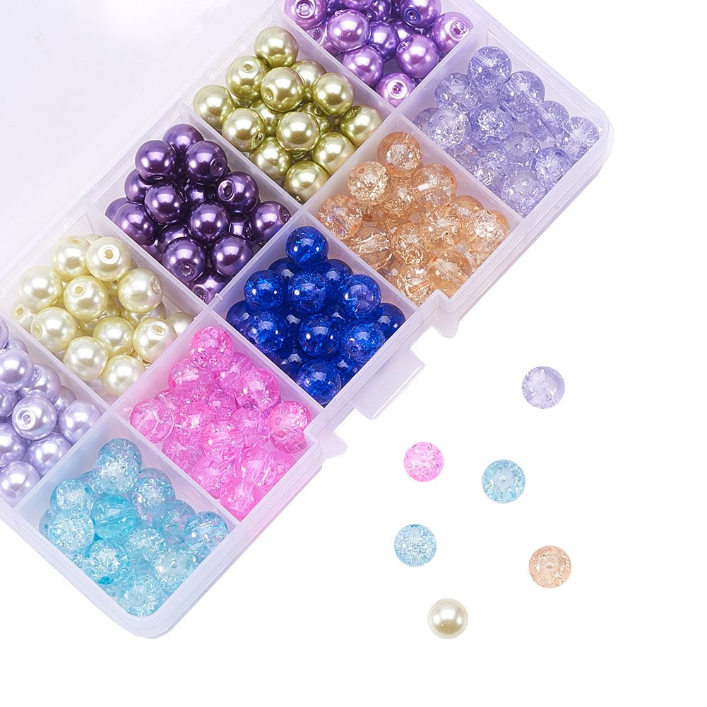 Pandahall 4mm 1500pcs Round Baking Painted Crackle Glass Beads and Glass Pearl Beads 10 Color Assorted Lot for Jewelry Making