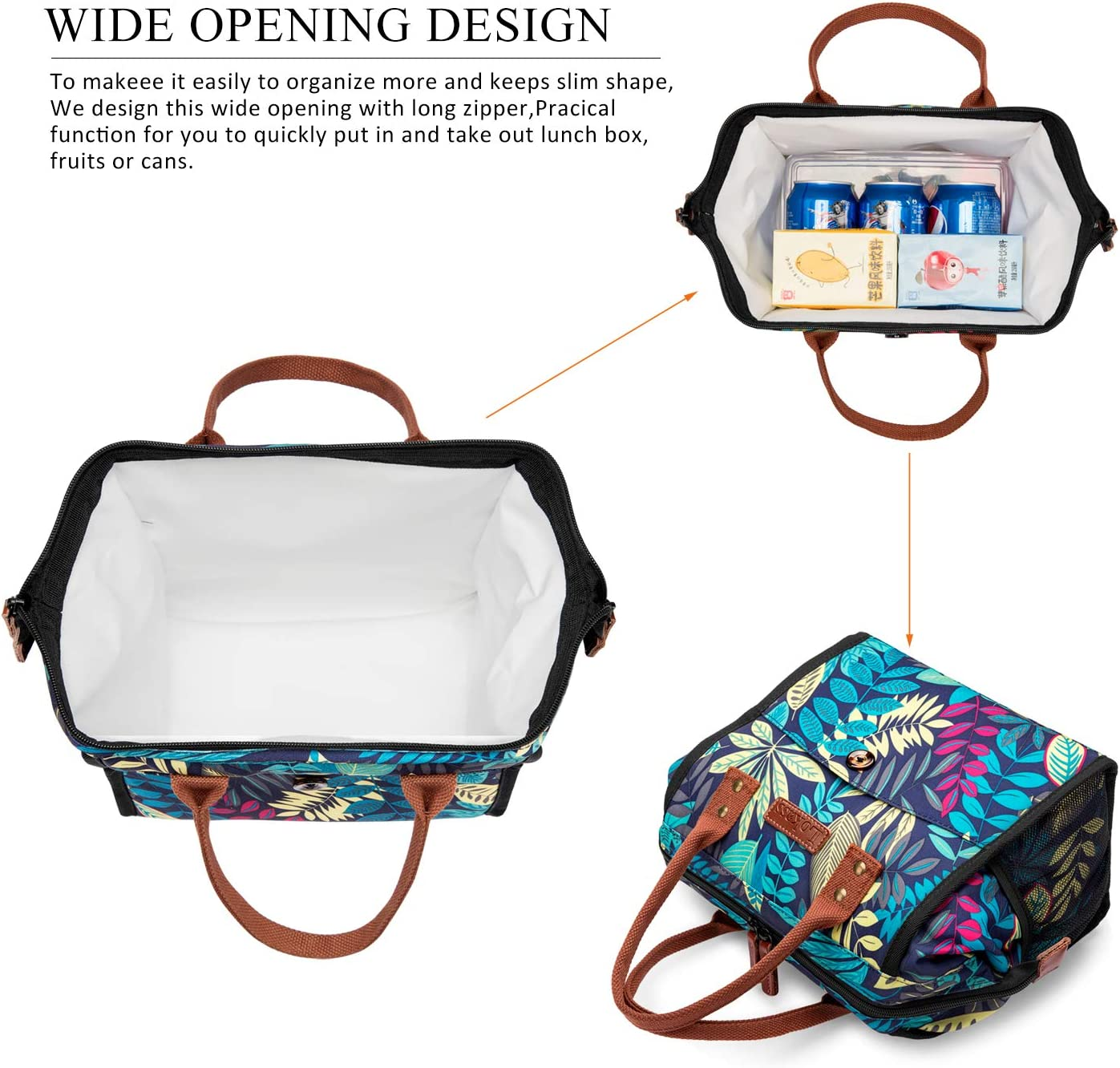 CoolBELL Lunch Bags For Women Lunch Tote Water-Resistant Cooler Bag Soft Leak Proof Lunch Box Insulated Lunch Holder With Wide Opening for Men//Women//Girl//Office Black