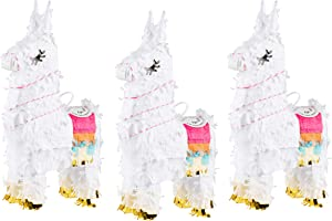 Llama Pinatas for Kids Birthday Party, Cinco De Mayo (10.5 x 5 in, 3 Pack)
