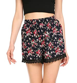 Woman Floral Printed Pattern Casual Summer Beach Shorts S #1
