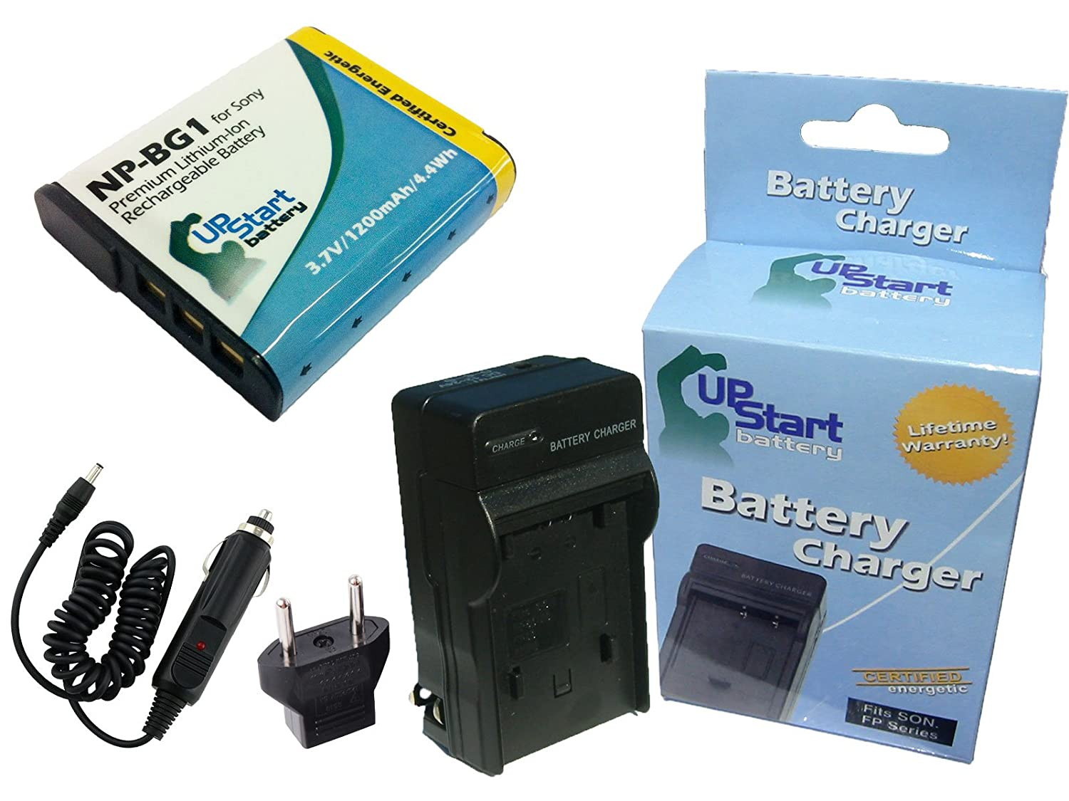 Sony Cyber-shot DSC-W70 Battery and Charger with Car Plug and EU Adapter - Replacement for Sony NP-BG1 Digital Camera Batteries and Chargers (1200mAh, 3.7V, Lithium-Ion) Upstart Battery NP-BG1-KIT-CAR-EU-DL85
