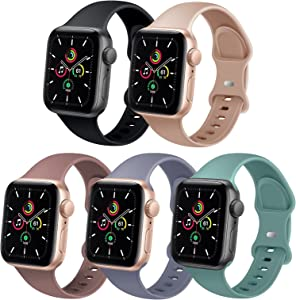 TSAAGAN 5 Pack Sport Silicone Band Compatible for Apple Watch Band 38mm 40mm 42mm 44mm, Soft Replacement Strap Accessory Wristband for iWatch Series SE/6/5/4/3/2/1 Women Men