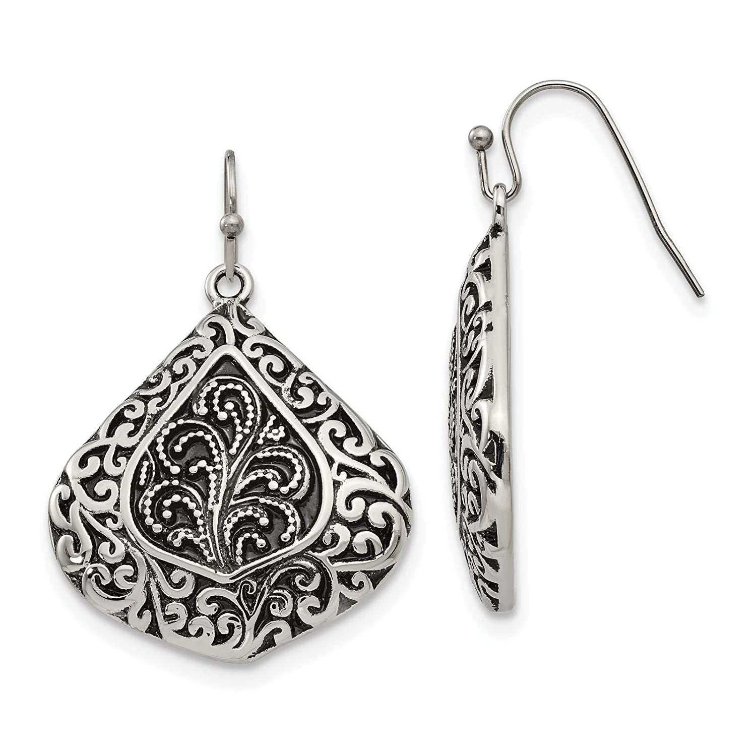 Stainless Steel Polished /& Antiqued Design Dangle Earrings
