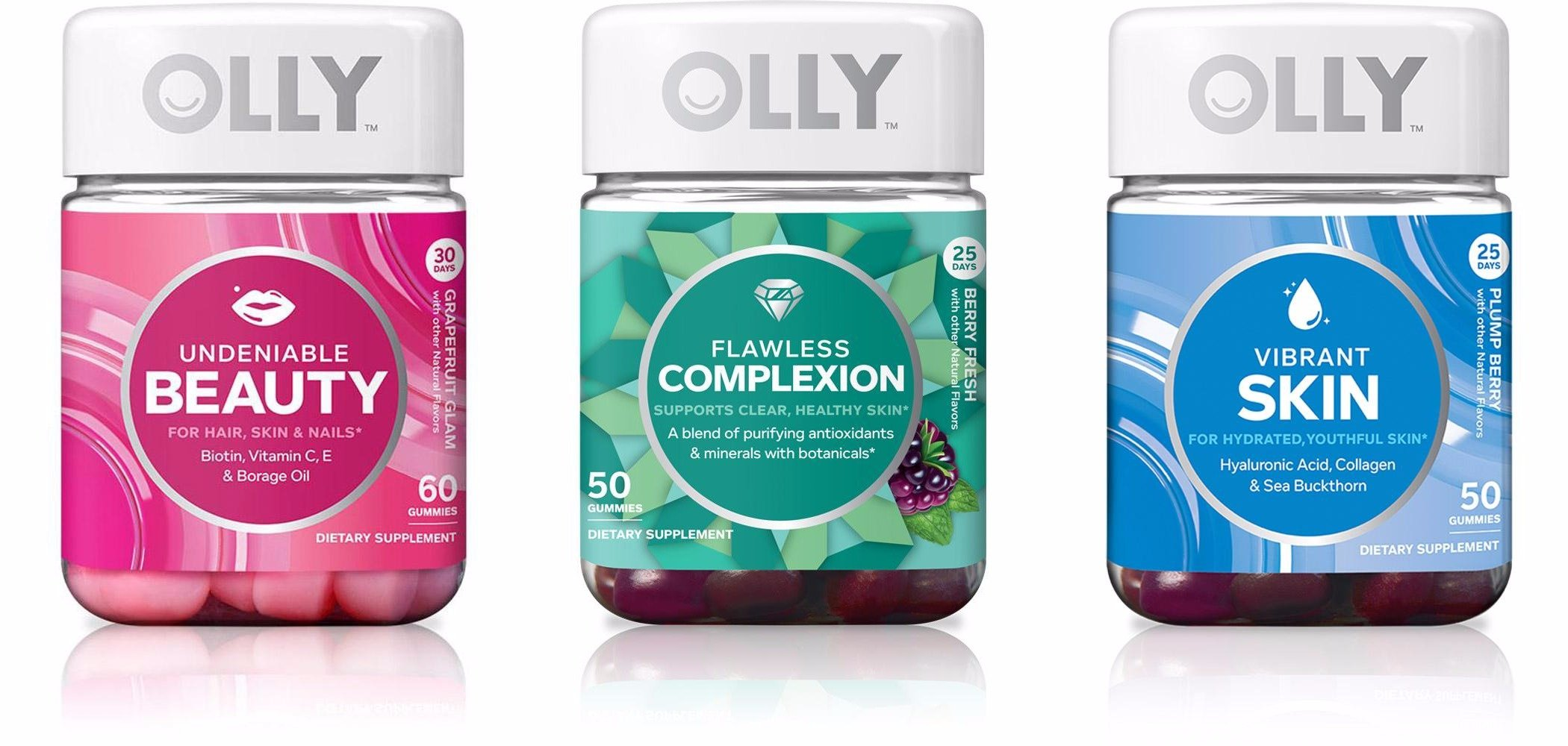 Olly Undeniable Beauty,Flawless Complexion,And Vibrant Skin Trio! A Jar Of 60 Undeniable Beauty! A Jar Of 50 Flawless Complexion! A Jar Of 50 Vibrant Skin! Perfect Combo To Keep Yourself Looking Best!
