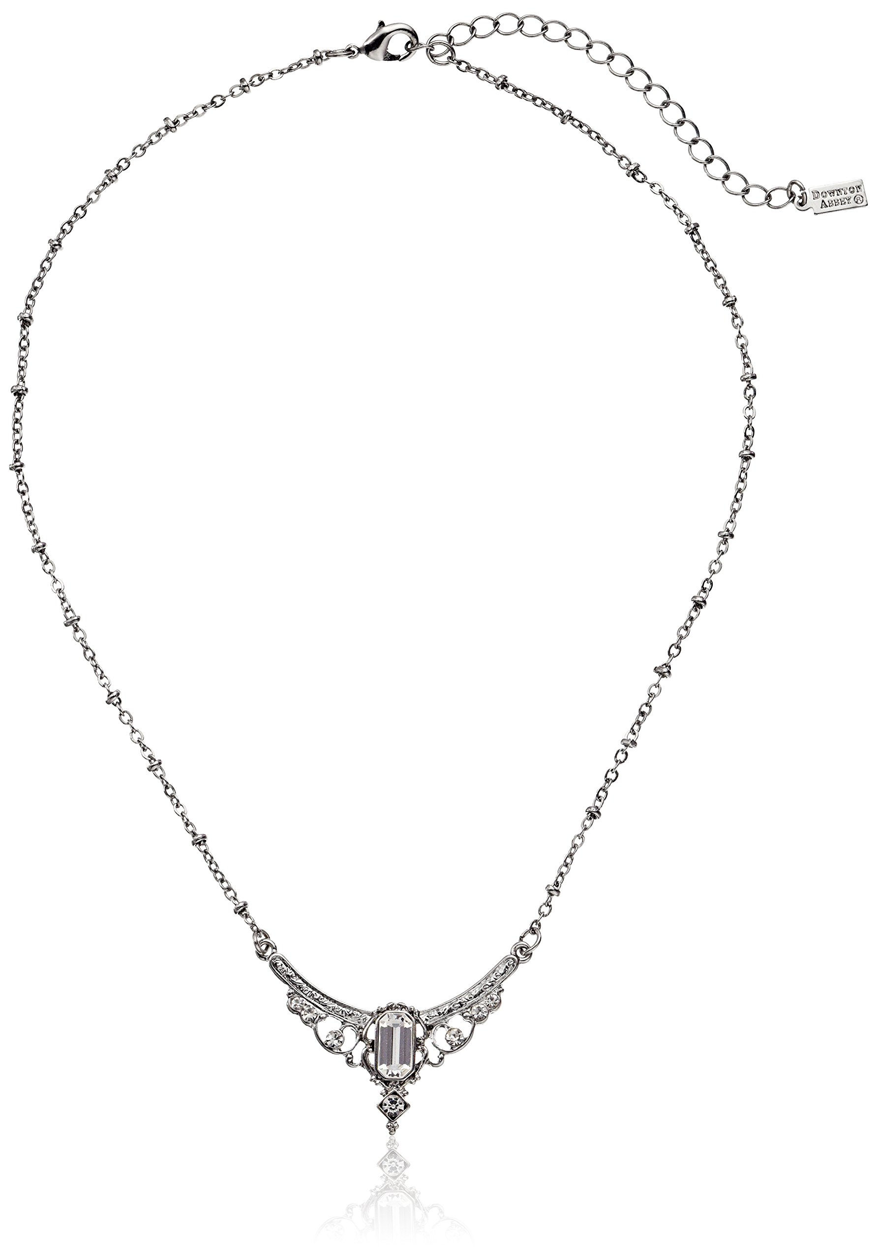 Downton Abbey Stardust Boxed Silver Tone Crystal Edwardian Statement Collar Pendant Necklace, 16''