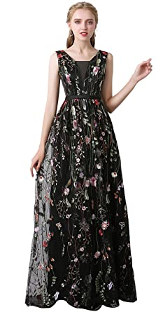 9b6f6478f Risestaryiding Women s Formal Dress Flower Embroidery Prom Party ...
