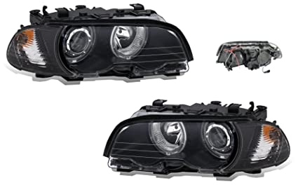 Amazon sppc projector halo headlights assembly set with corner sppc projector halo headlights assembly set with corner light black for bmw 3 series e46 sciox Image collections
