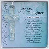 Handmade Clear Mosaic Cross - Sentimental Gift for Daughter from Mom or Dad