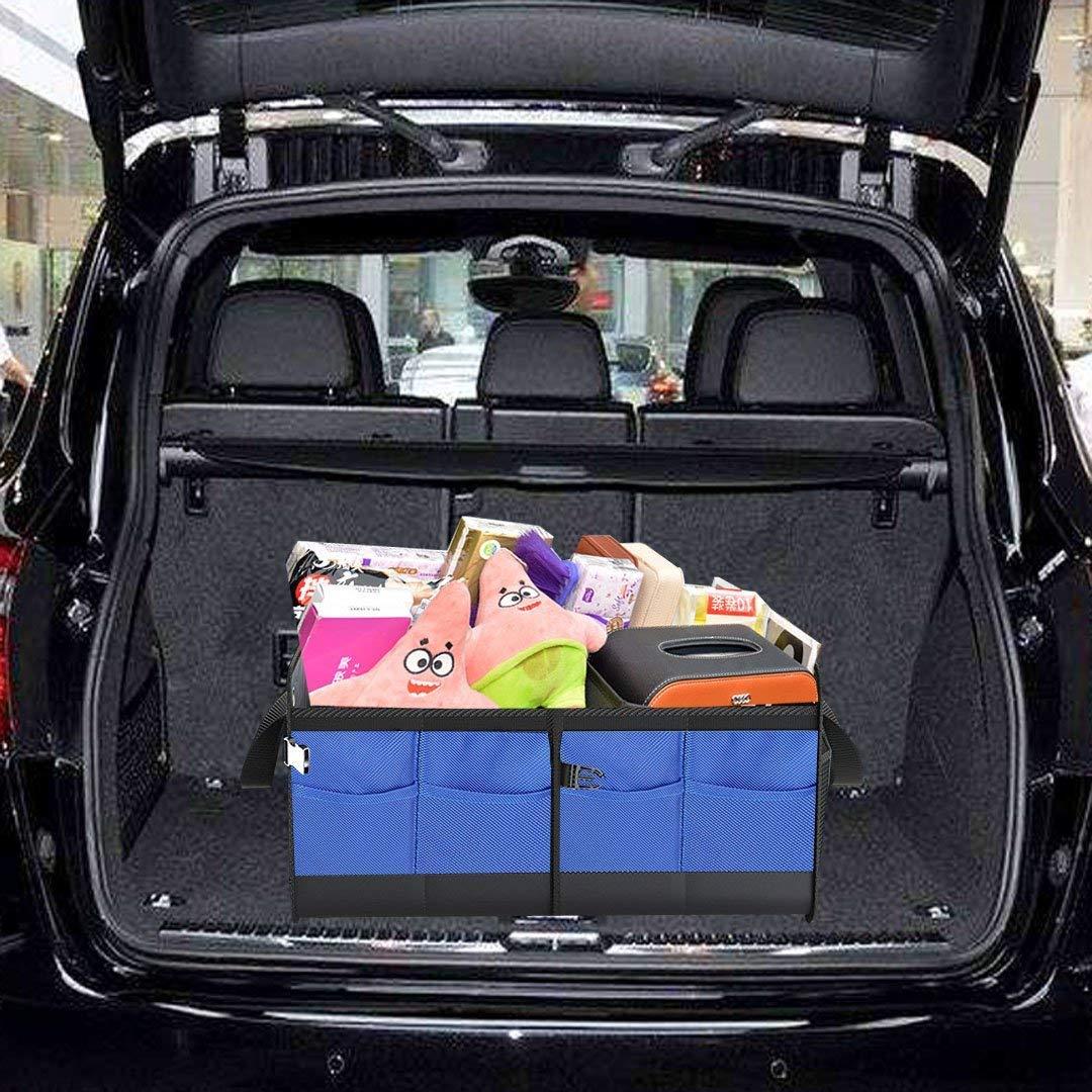 Blue Car Trunk Organizer Collapsible Portable Multi Compartments Heavy Duty Non-Slip Durable Storage Cargo Trunk Organizer Storage containers for Cars