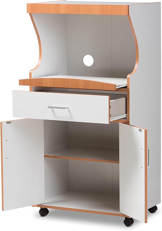 Baxton Studio Sevres Kitchen Cabinet White Brown Home Office Furniture Home Kitchen Snowrobin Jp