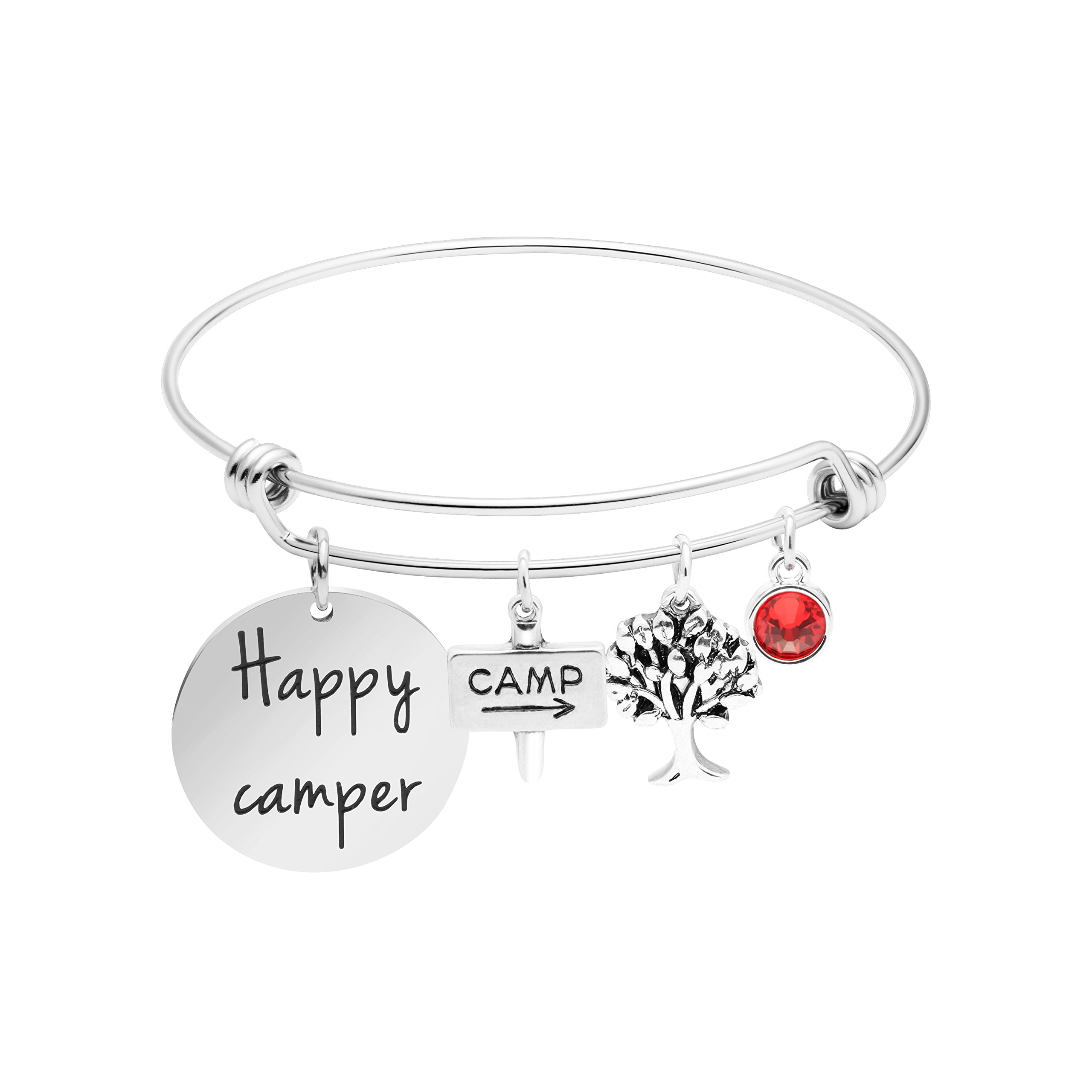 Awegift Happy Camper Expandable Bangle Bracelet with Charms Find Joy in The Journey Summer Camp Jewelry for Girls